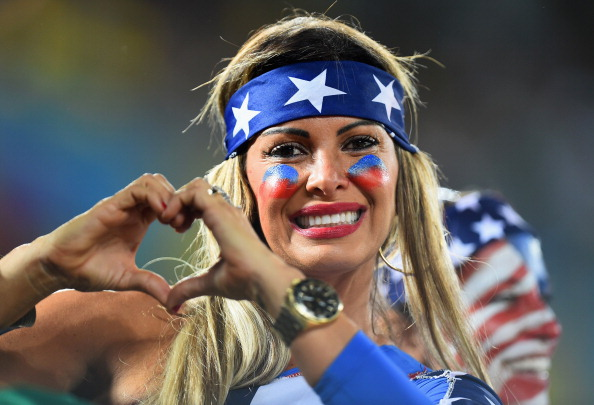 A fan of the the United States poses during the 2014 FIFA World Cup Brazil Group G match between Ghana and  the United States (credit: Jamie McDonald/Getty Images)