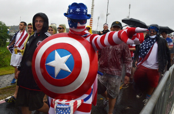 A US supporter cheers prior to a Group G football match between US and Germany  (credit: NELSON ALMEIDA/AFP/Getty Images)
