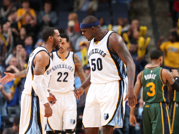 Mike Conley #11 and Zach Randolph #50 of the Memphis Grizzlies react during the game against the Utah Jazz on March 4, 2016 at FedExForum in Memphis, Tennessee.