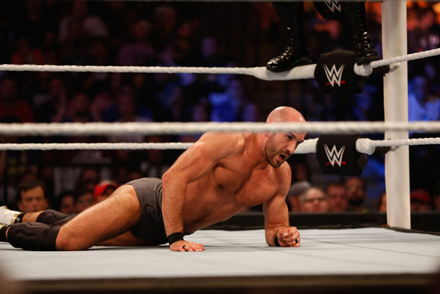Cesaro recovers after a hit from Kevin Owens at the WWE SummerSlam 2015 at Barclays Center of Brooklyn on August 23, 2015 in New York City.