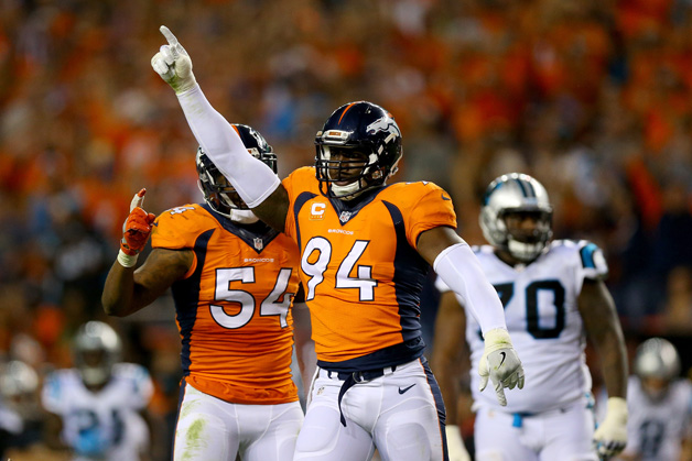Outside linebacker DeMarcus Ware #94 of the Denver Broncos reacts in the second half while taking on the Carolina Panthers at Sports Authority Field at Mile High on September 8, 2016 in Denver, Colorado.