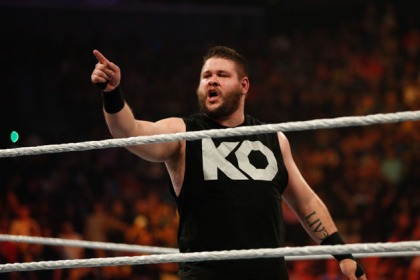 Kevin Owens celebrates his victory over Cesaro at the WWE SummerSlam 2015 at Barclays Center of Brooklyn on August 23, 2015 in New York City.
