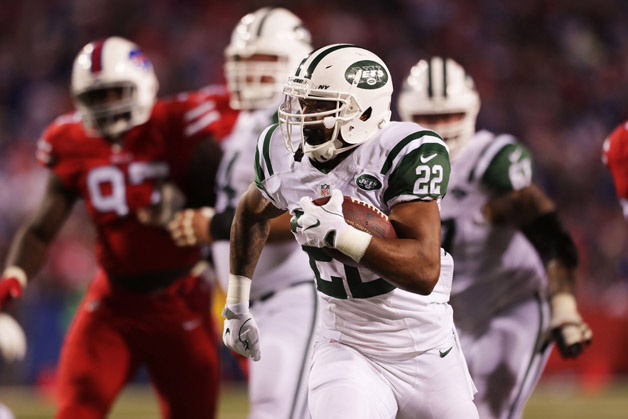 Matt Forte #22 of the New York Jets runs the ball against the Buffalo Bills during the second half at New Era Field on September 15, 2016 in Orchard Park, New York.