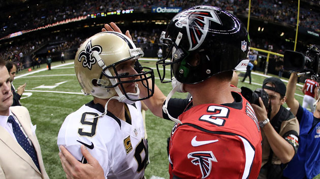 NEW ORLEANS, LA - OCTOBER 15: Drew Brees #9 of the New Orleans Saints greets Matt Ryan #2 of the Atlanta Falcons at midfield following a game at the Mercedes-Benz Superdome on October 15, 2015 in New Orleans, Louisiana. The Saints defeated the Falcons 31-21. (Photo by Chris Graythen/Getty Images)