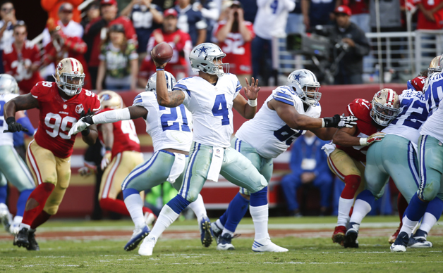 Dak Prescott #4 of the Dallas Cowboys passes during the game against the San Francisco 49ers at Levi Stadium on October 2, 2016 in Santa Clara, California. The Cowboys defeated the 49ers 24-17.