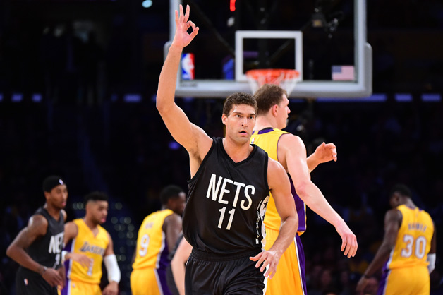 Brook Lopez #11 of the Brooklyn Nets celebrates his three pointer against the Los Angeles Lakers during the first half at Staples Center on November 15, 2016 in Los Angeles, California.
