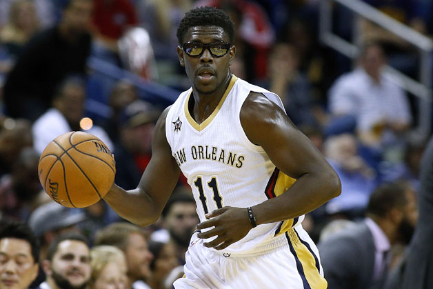 Jrue Holiday #11 of the New Orleans Pelicans drives with the ball during the first half of a game against the Portland Trail Blazers at the Smoothie King Center on November 18, 2016 in New Orleans, Louisiana.