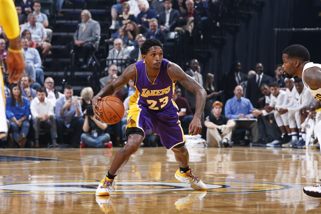 Louis Williams #23 of the Los Angeles Lakers handles the ball against the Indiana Pacers during the game at Bankers Life Fieldhouse on November 1, 2016 in Indianapolis, Indiana. The Pacers defeated the Lakers 115-108.