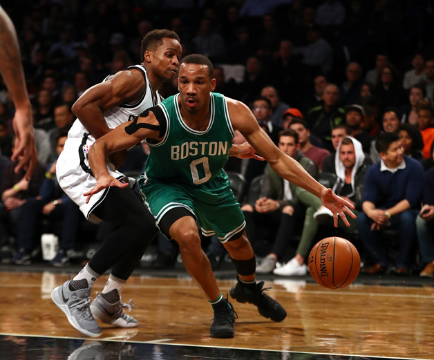 Avery Bradley #0 of the Boston Celtics in action against the Brooklyn Nets during their game at the Barclays Center on November 23, 2016 in New York City.