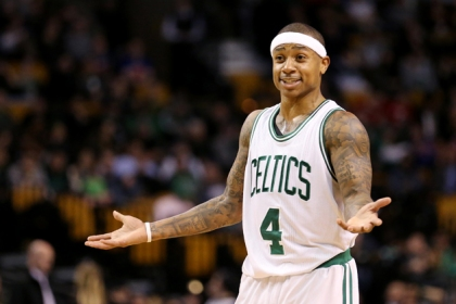 Isaiah Thomas #4 of the Boston Celtics reacts during the fourth quarter against the New York Knicks during the second half at TD Garden on January 18, 2017 in Boston, Massachusetts. The Knicks defeat the Celtics 117-106.