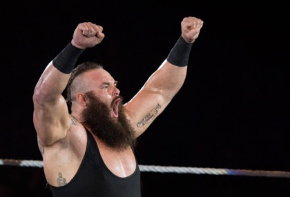 Braun Strowman reacts during to the WWE Live Duesseldorf event at ISS Dome on February 22, 2017 in Duesseldorf, Germany.