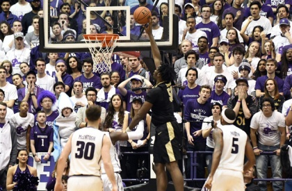 Caleb Swanigan #50 of the Purdue Boilermakers goes up for a shot against the Northwestern Wildcats during the second half on March 5, 2017 at Welsh-Ryan Arena in Evanston, Illinois. Purdue won 69-65.
