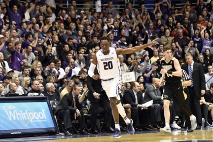 Scottie Lindsey #20 of the Northwestern Wildcats reacts after making a three-point basket against the Purdue Boilermakers during the first half on March 5, 2017 at Welsh-Ryan Arena in Evanston, Illinois.