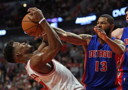 United Center on December 18, 2015 in Chicago, Illinois. The Pistons defeated the Bulls 147-144 in quadruple overtime.