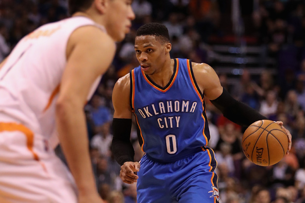 Russell Westbrook #0 of the Oklahoma City Thunder handles the ball during the first half of the NBA game against the Phoenix Suns at Talking Stick Resort Arena on April 7, 2017 in Phoenix, Arizona.