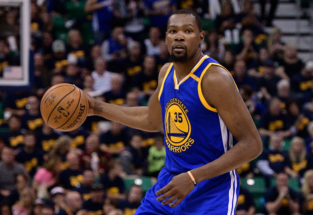Kevin Durant #35 of the Golden State Warriors controls the ball in the second half of their 102-91 win over the Utah Jazz in Game Three of the Western Conference Semifinals during the 2017 NBA Playoffs at Vivint Smart Home Arena on May 6, 2017 in Salt Lake City, Utah. Durant scored thirty eight points in the victory.