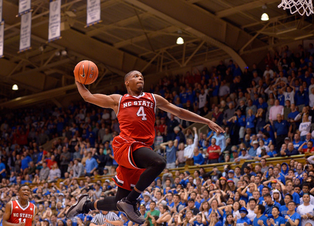 Dennis Smith Jr. #4 of the North Carolina State Wolfpack drives in for a dunk as time expires during their win against the Duke Blue Devils at Cameron Indoor Stadium on January 23, 2017 in Durham, North Carolina. North Carolina State won 84-82.