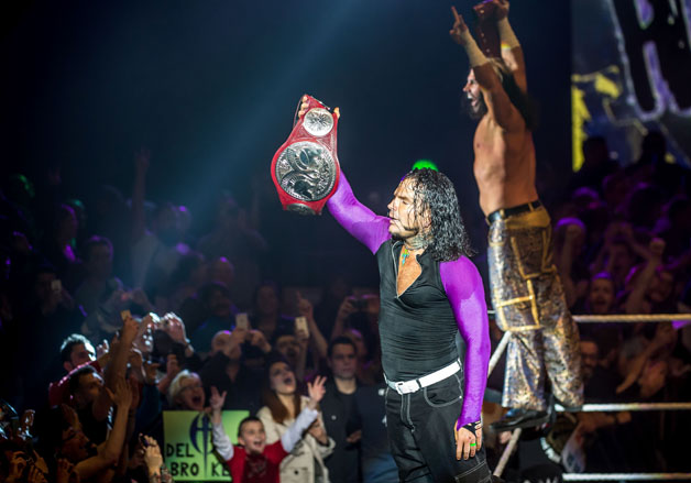 The Hardy Boyz arrive in the ring during WWE show at Zenith Arena on May 10, 2017 in Lille, northern France.