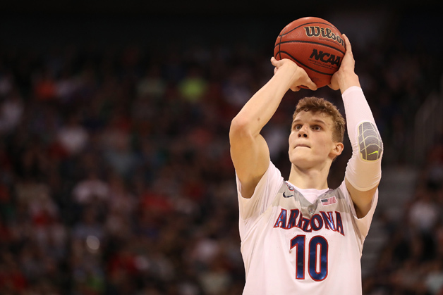 Lauri Markkanen #10 of the Arizona Wildcats attempts a free throw against the St. Mary's Gaels during the second round of the 2017 NCAA Men's Basketball Tournament at Vivint Smart Home Arena on March 18, 2017 in Salt Lake City, Utah.