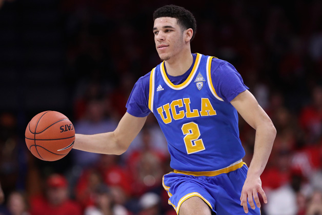 Lonzo Ball #2 of the UCLA Bruins moves the ball upcourt during the second half of the college basketball game against the Arizona Wildcats at McKale Center on February 25, 2017 in Tucson, Arizona. The Bruins defeated the Wildcats 77-72.