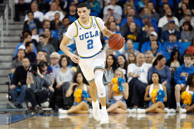 Lonzo Ball #2 of the UCLA Bruins dribbles the ball down court during the game against the Stanford Cardinal at Pauley Pavilion on January 8, 2017 in Los Angeles, California.