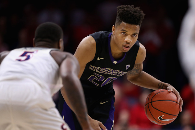 Markelle Fultz #20 of the Washington Huskies handles the ball during the second half of the college basketball game against the Arizona Wildcats at McKale Center on January 29, 2017 in Tucson, Arizona. The Wildcats defeated the Huskies 77-66.
