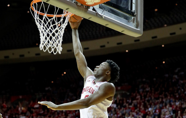 OG Anunoby #3 of the Indiana Hoosiers shoots the ball during the game against the Rutgers Scarlet Knights at Assembly Hall on January 15, 2017 in Bloomington, Indiana.