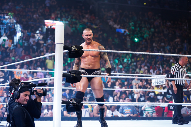 Randy Orton enters the ring at the WWE SummerSlam 2015 at Barclays Center of Brooklyn on August 23, 2015 in New York City.