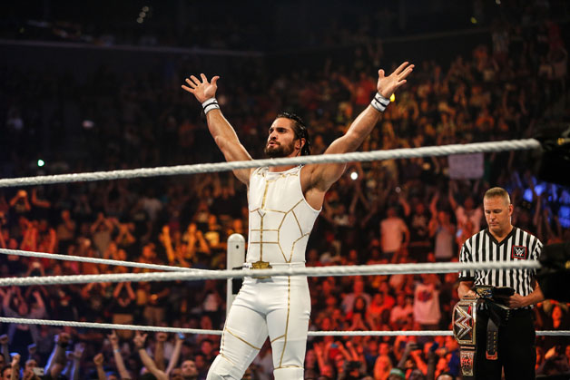 Seth Rollins enters the ring at the WWE SummerSlam 2015 at Barclays Center of Brooklyn on August 23, 2015 in New York City.