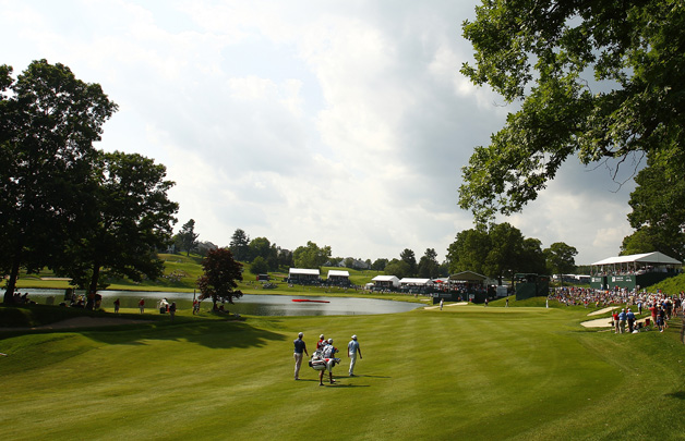 A general view of the 15th hole during the second round of the Travelers Championship held at TPC River Highlands on June 21, 2013 in Cromwell, Connecticut.