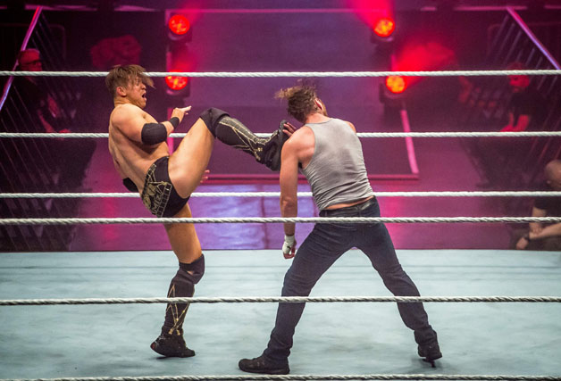 Dean Ambrose and the Miz (R) battle during the WWE show at Zenith Arena on may 09, 2017 in Lille, north France.