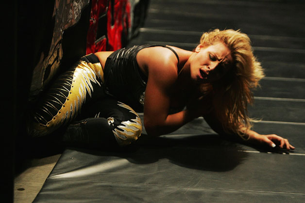 Natalya lays on the ground during WWE Smackdown at Acer Arena on June 15, 2008 in Sydney, Australia.