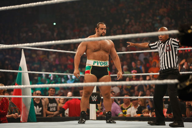 Alexander Rusev gets ready for his fight against Dolph Ziggler at the WWE SummerSlam 2015 at Barclays Center of Brooklyn on August 23, 2015 in New York City.
