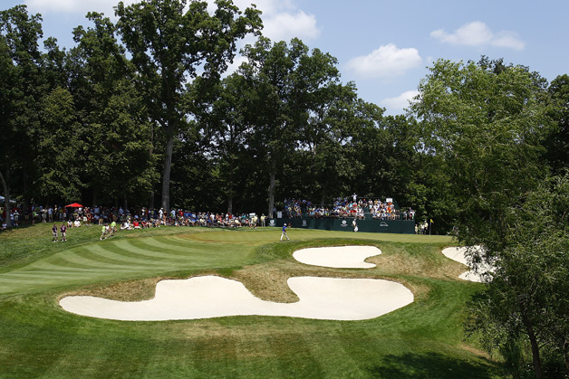 A general view of the fifth green during the third round of the John Deere Classic held at TPC Deere Run on July 14, 2012 in Silvis, Illinois.
