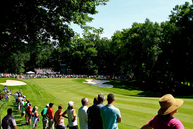 A general view of the ninth hole during the first round of the John Deere Classic held at TPC Deere Run on July 9, 2015 in Silvis, Illinois.