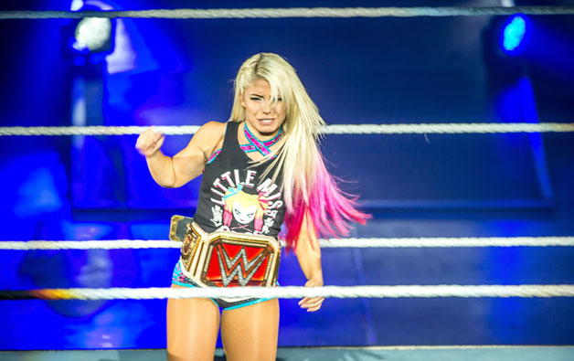 Alexa Bliss gestures in the ring during the WWE show at Zenith Arena on may 09, 2017 in Lille, France.