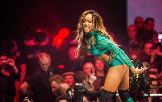 Alicia Fox arrives in the ring during the WWE show at Zenith Arena on may 09, 2017 in Lille north France.