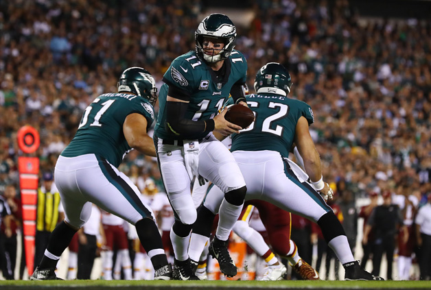 Carson Wentz #11 of the Philadelphia Eagles in action against the Washington Redskins during their game at Lincoln Financial Field on October 23, 2017 in Philadelphia, Pennsylvania.