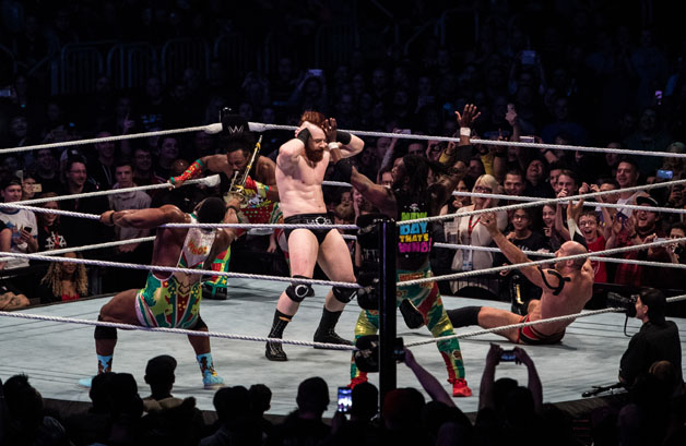 "Sheamus and member of team ""The New Day"" dance during to the WWE Live Duesseldorf event at ISS Dome on February 22, 2017 in Duesseldorf, Germany."
