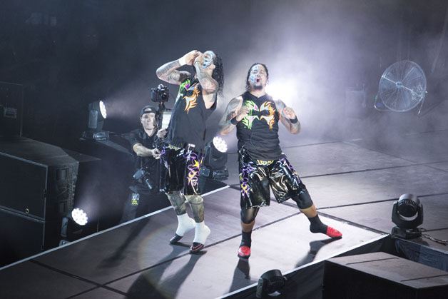The Usos during WWE Road to WrestleMania at the Lanxess Arena on February 11, 2016 in Cologne, Germany.