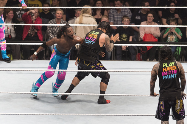 The New Day competes in the ring against The Usos at the Road to WrestleMania at the Lanxess Arena on February 11, 2016 in Cologne, Germany.