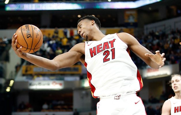 Hassan Whiteside #21 of the Miami Heat grabs a rebound against the Indiana Pacers during the game at Bankers Life Fieldhouse on January 10, 2018 in Indianapolis, Indiana.