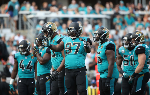 Members of the Jacksonville Jaguars defense wait on the field in the first half of their game against the Cincinnati Bengals at EverBank Field on November 5, 2017 in Jacksonville, Florida.