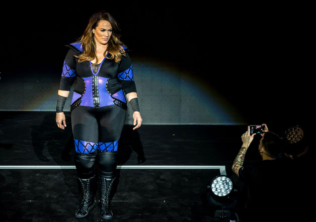 Nia Jax arrives in the ring during the WWE show at Zenith Arena on may 09, 2017 in Lille north France.