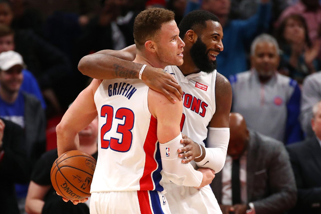 Blake Griffin #23 of the Detroit Pistons celebrates a 115-106 win over the Brooklyn Nets with Andre Drummond #0 at Little Caesars Arena on February 7, 2018 in Detroit, Michigan.