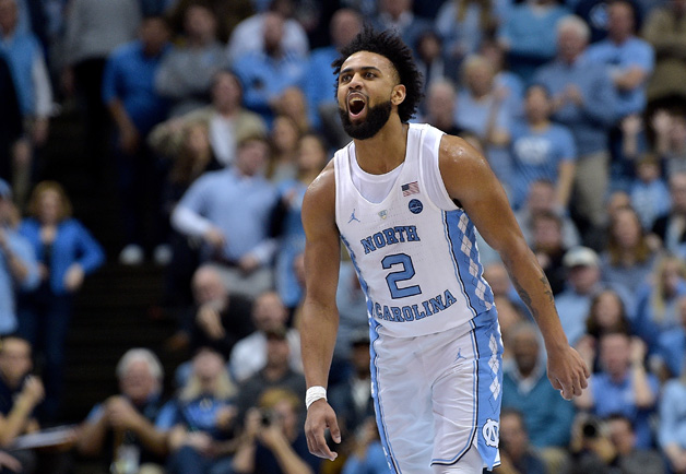 Joel Berry II #2 of the North Carolina Tar Heels reacts during their game against the Pittsburgh Panthers at the Dean Smith Center on February 3, 2018 in Chapel Hill, North Carolina. North Carolina won 96-65.