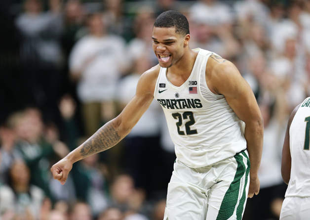 Miles Bridges #22 of the Michigan State Spartans reacts to a play during a game against the Penn State Nittany Lions in the second half at Breslin Center on January 31, 2018 in East Lansing, Michigan.
