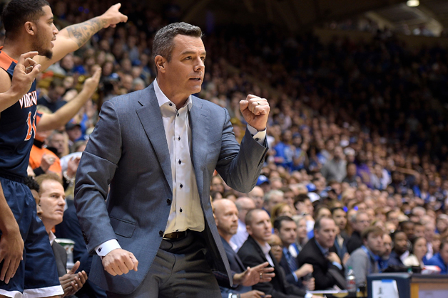 Head coach Tony Bennett of the Virginia Cavaliers reacts during their game against the Duke Blue Devils at Cameron Indoor Stadium on January 27, 2018 in Durham, North Carolina.