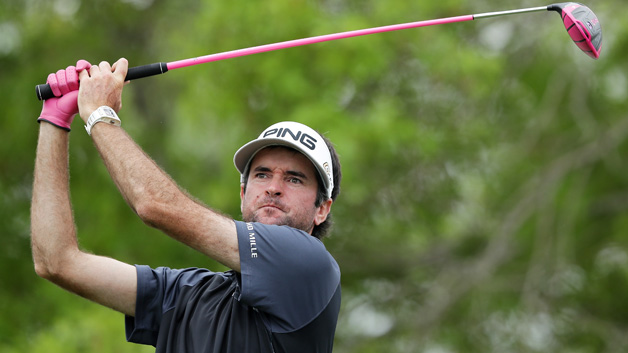 Bubba Watson of the United States plays his shot from the sixth tee during his final round match against Kevin Kisner of the United States in the World Golf Championships-Dell Match Play at Austin Country Club on March 25, 2018 in Austin, Texas.