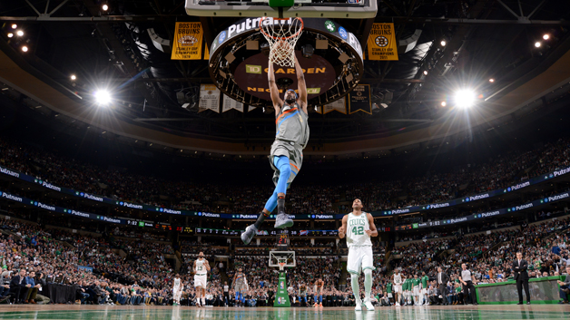 Corey Brewer #3 of the Oklahoma City Thunder goes up for a dunk against the Boston Celtics on March 20, 2018 at the TD Garden in Boston, Massachusetts.